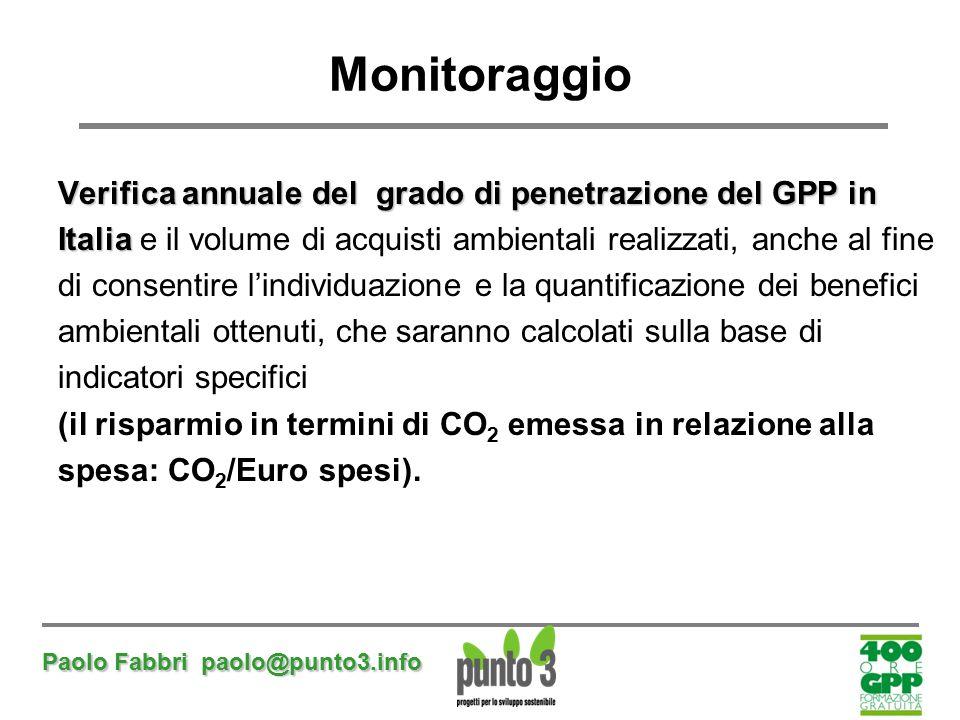 Paolo Fabbri paolo@punto3.info Monitoraggio Verifica annuale del grado di penetrazione del GPP in Italia Italia e il volume di acquisti ambientali rea