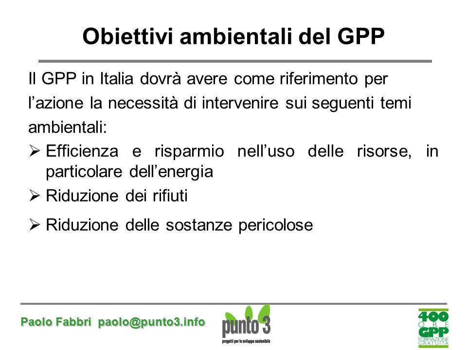 Paolo Fabbri paolo@punto3.info Obiettivi ambientali del GPP Il GPP in Italia dovrà avere come riferimento per l'azione la necessità di intervenire sui