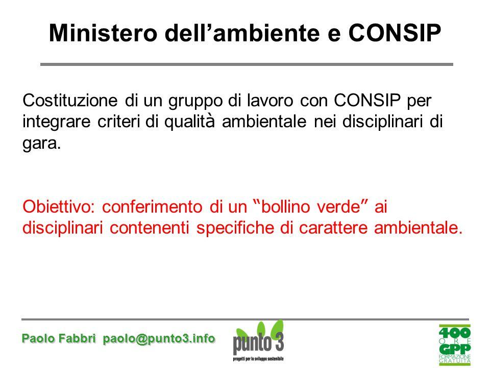 Paolo Fabbri paolo@punto3.info Ministero dell'ambiente e CONSIP Costituzione di un gruppo di lavoro con CONSIP per integrare criteri di qualit à ambie