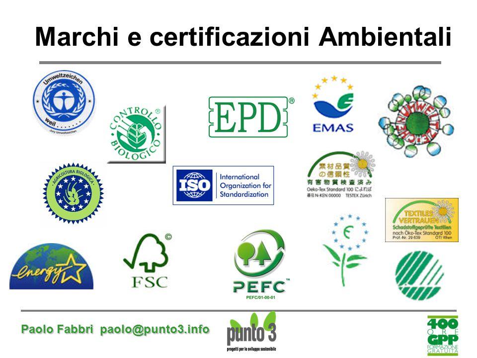 Paolo Fabbri paolo@punto3.info Marchi e certificazioni Ambientali
