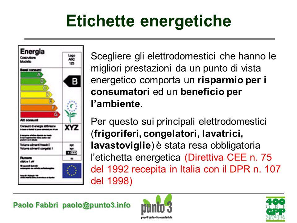 Paolo Fabbri paolo@punto3.info Etichette energetiche Scegliere gli elettrodomestici che hanno le migliori prestazioni da un punto di vista energetico