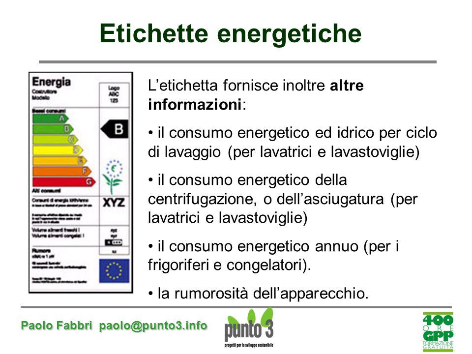 Paolo Fabbri paolo@punto3.info Etichette energetiche L'etichetta fornisce inoltre altre informazioni: il consumo energetico ed idrico per ciclo di lav