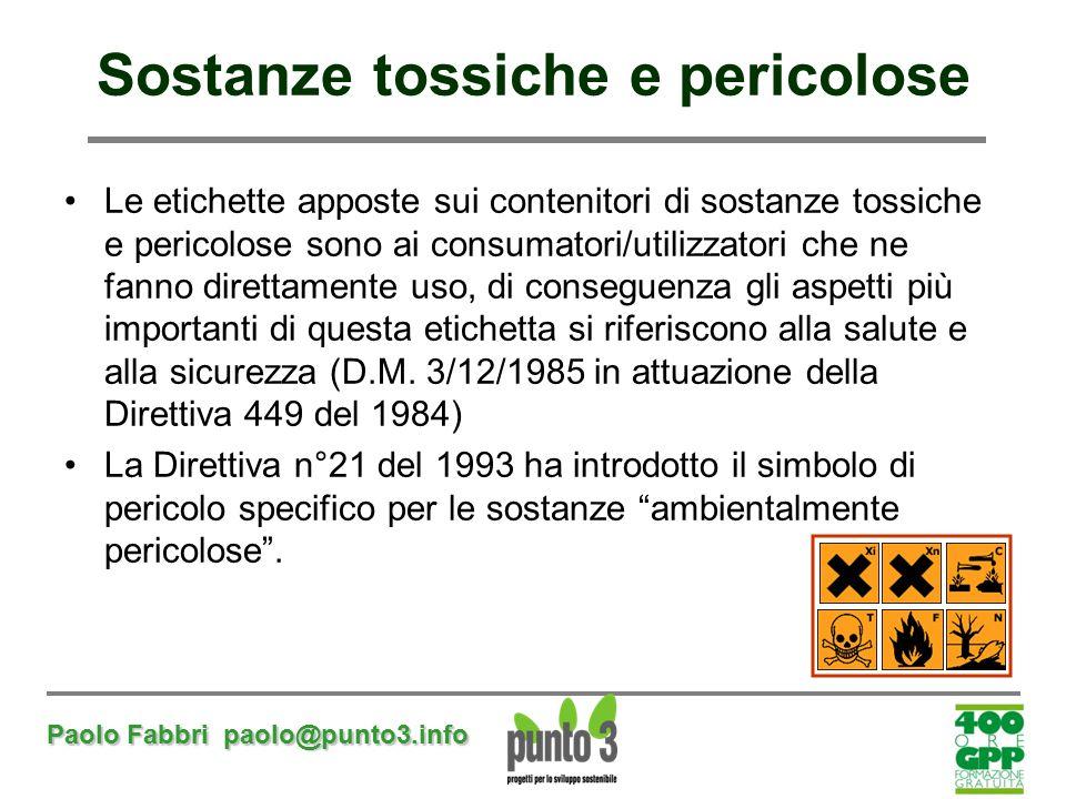 Paolo Fabbri paolo@punto3.info Sostanze tossiche e pericolose Le etichette apposte sui contenitori di sostanze tossiche e pericolose sono ai consumato