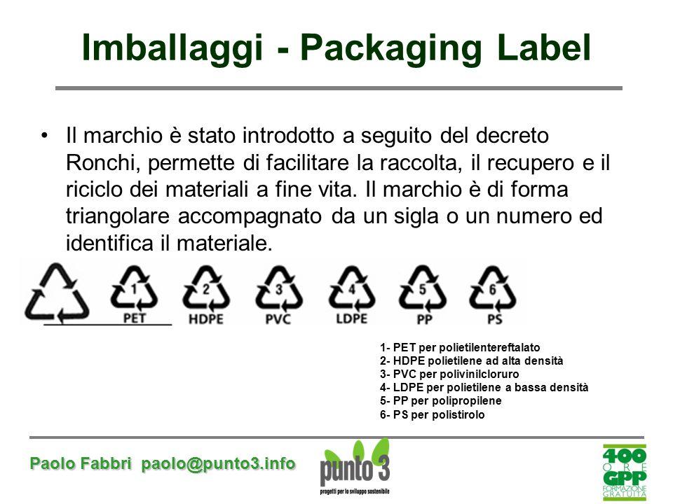 Paolo Fabbri paolo@punto3.info Imballaggi - Packaging Label Il marchio è stato introdotto a seguito del decreto Ronchi, permette di facilitare la racc
