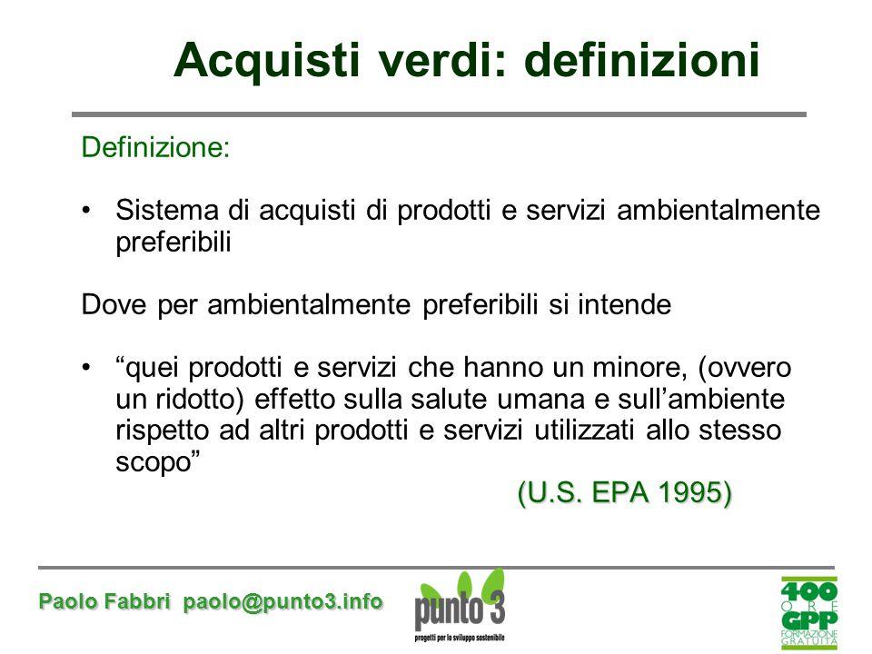 Paolo Fabbri paolo@punto3.info Definizione: Sistema di acquisti di prodotti e servizi ambientalmente preferibili Dove per ambientalmente preferibili s