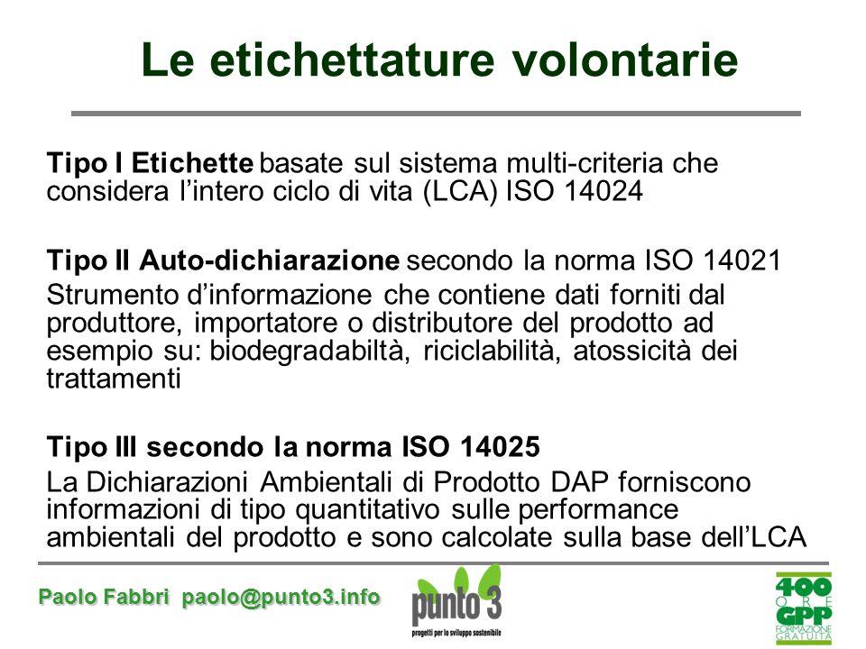 Paolo Fabbri paolo@punto3.info Le etichettature volontarie Tipo I Etichette basate sul sistema multi-criteria che considera l'intero ciclo di vita (LC