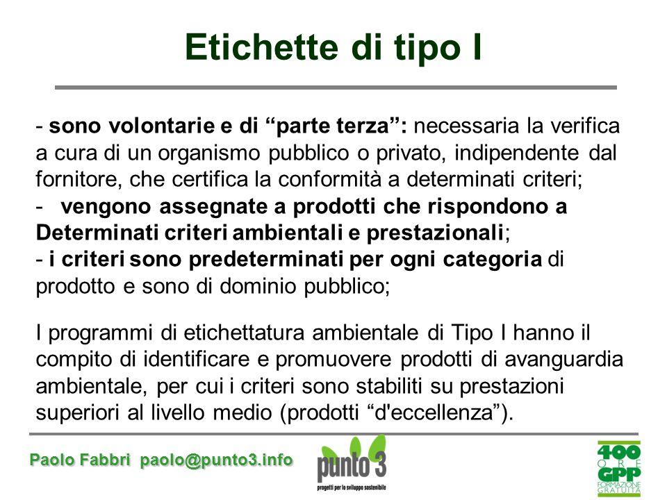 """Paolo Fabbri paolo@punto3.info Etichette di tipo I - sono volontarie e di """"parte terza"""": necessaria la verifica a cura di un organismo pubblico o priv"""