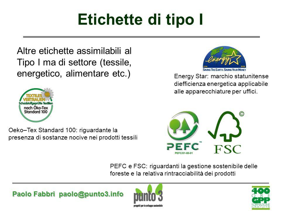 Paolo Fabbri paolo@punto3.info Etichette di tipo I Altre etichette assimilabili al Tipo I ma di settore (tessile, energetico, alimentare etc.) Energy