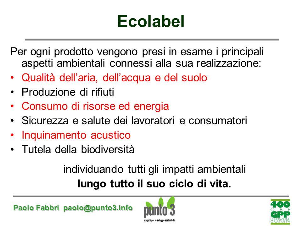 Paolo Fabbri paolo@punto3.info Per ogni prodotto vengono presi in esame i principali aspetti ambientali connessi alla sua realizzazione: Qualità dell'