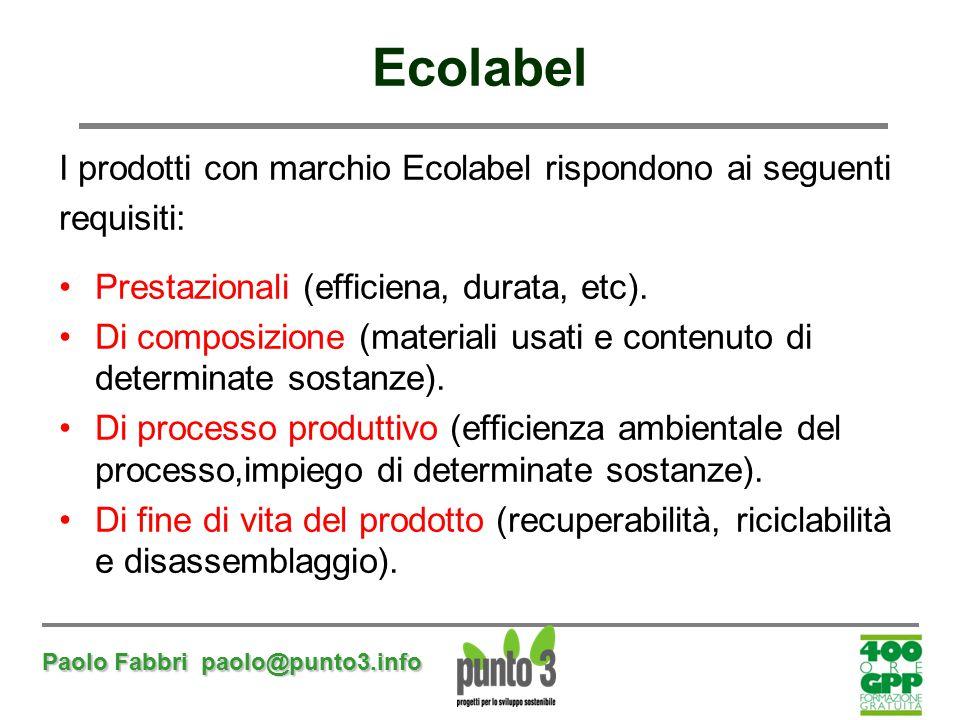 Paolo Fabbri paolo@punto3.info I prodotti con marchio Ecolabel rispondono ai seguenti requisiti: Prestazionali (efficiena, durata, etc). Di composizio