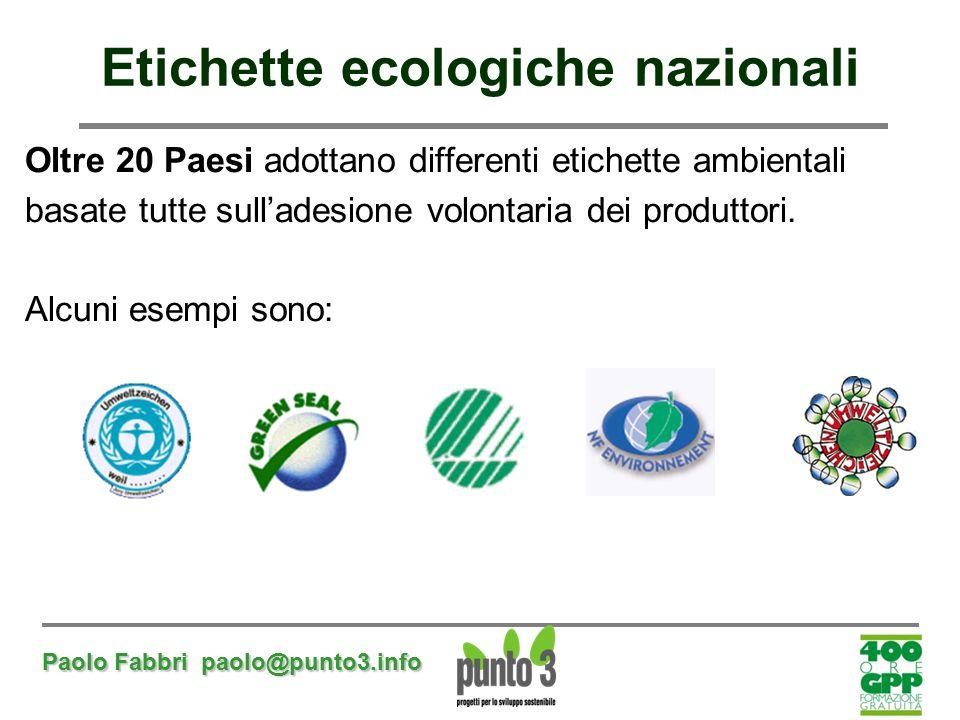 Paolo Fabbri paolo@punto3.info Etichette ecologiche nazionali Oltre 20 Paesi adottano differenti etichette ambientali basate tutte sull'adesione volon