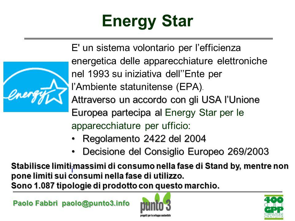 Paolo Fabbri paolo@punto3.info Energy Star E' un sistema volontario per l'efficienza energetica delle apparecchiature elettroniche nel 1993 su iniziat