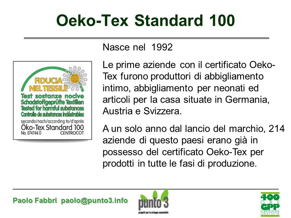Paolo Fabbri paolo@punto3.info Oeko-Tex Standard 100 Nasce nel 1992 Le prime aziende con il certificato Oeko- Tex furono produttori di abbigliamento i