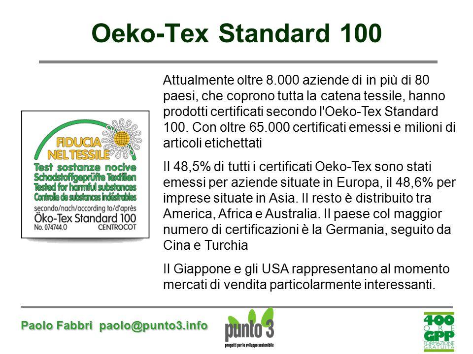 Paolo Fabbri paolo@punto3.info Oeko-Tex Standard 100 Attualmente oltre 8.000 aziende di in più di 80 paesi, che coprono tutta la catena tessile, hanno