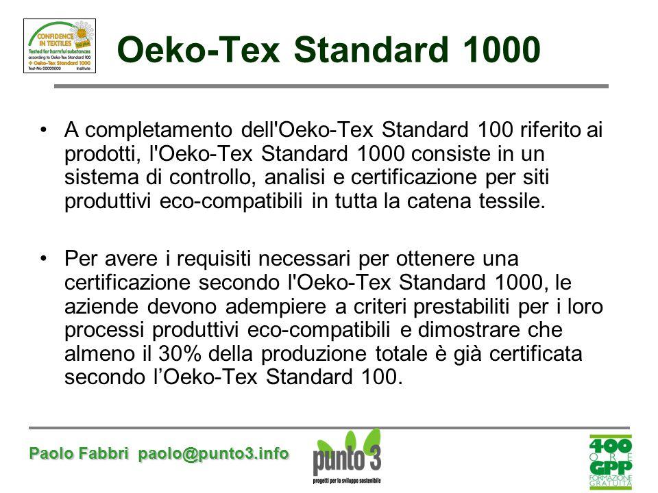Paolo Fabbri paolo@punto3.info Oeko-Tex Standard 1000 A completamento dell'Oeko-Tex Standard 100 riferito ai prodotti, l'Oeko-Tex Standard 1000 consis