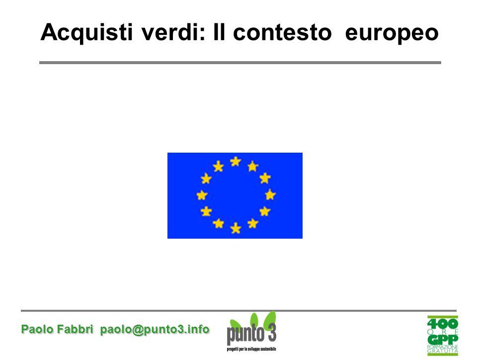 Paolo Fabbri paolo@punto3.info Acquisti verdi: Il contesto europeo