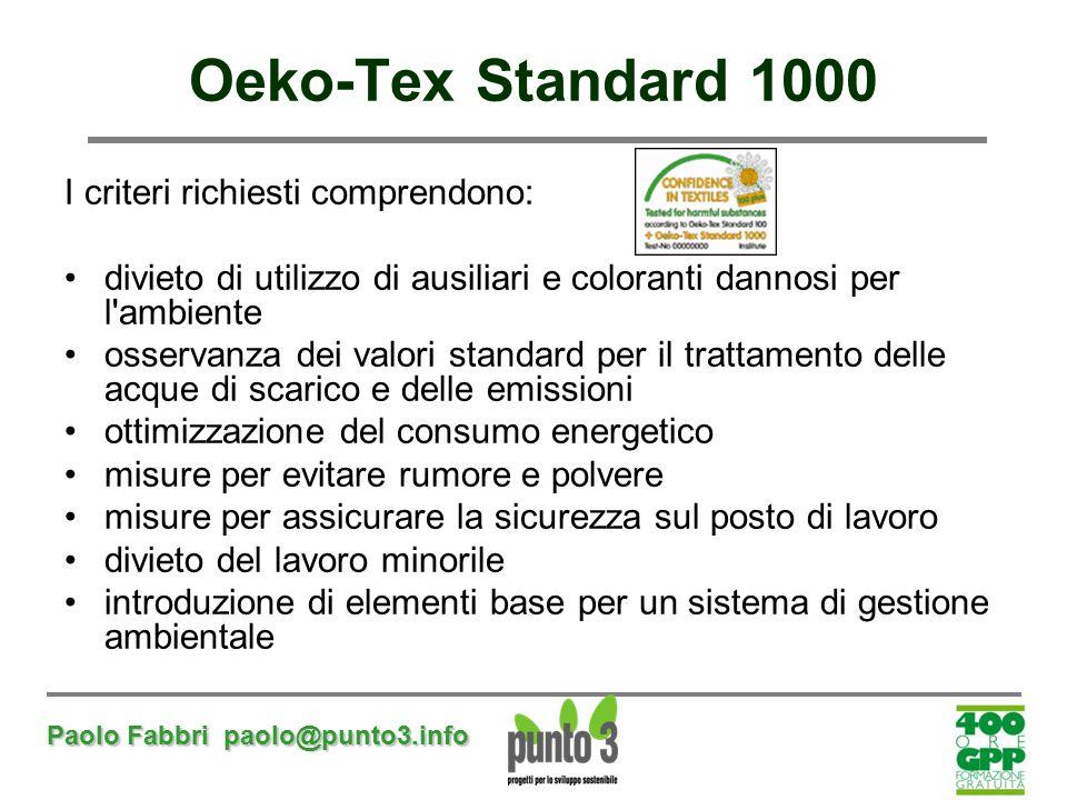 Paolo Fabbri paolo@punto3.info Oeko-Tex Standard 1000 I criteri richiesti comprendono: divieto di utilizzo di ausiliari e coloranti dannosi per l'ambi