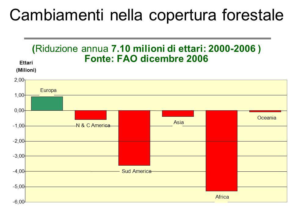 Cambiamenti nella copertura forestale (Riduzione annua 7.10 milioni di ettari: 2000-2006 ) Fonte: FAO dicembre 2006 N & C America Sud America Asia Afr