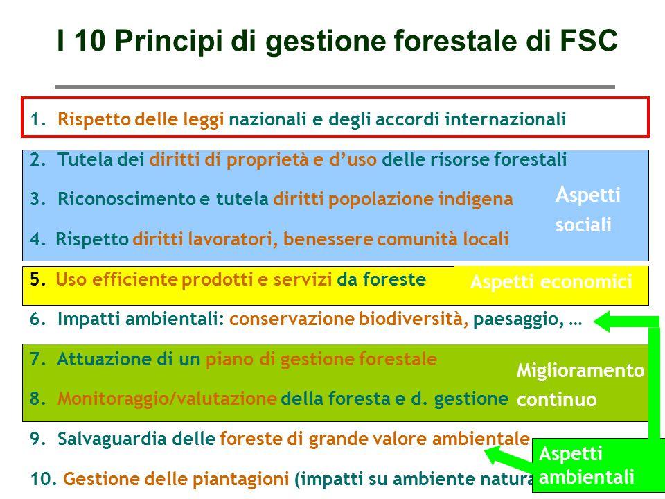 Paolo Fabbri paolo@punto3.info Miglioramento continuo Aspetti economici A spetti sociali I 10 Principi di gestione forestale di FSC 1. Rispetto delle