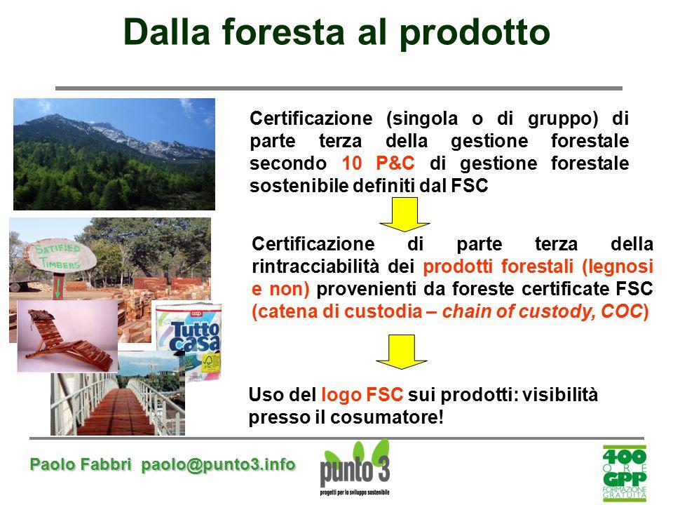 Paolo Fabbri paolo@punto3.info Dalla foresta al prodotto Certificazione di parte terza della rintracciabilità dei prodotti forestali (legnosi e non) p