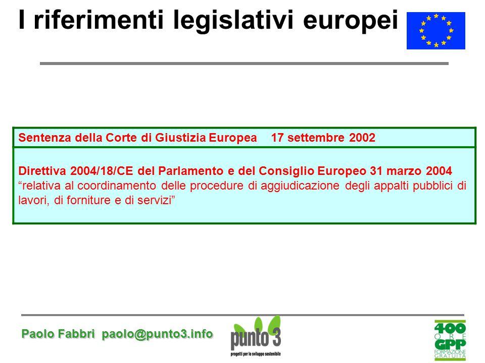 Paolo Fabbri paolo@punto3.info I riferimenti legislativi europei Sentenza della Corte di Giustizia Europea 17 settembre 2002 Direttiva 2004/18/CE del