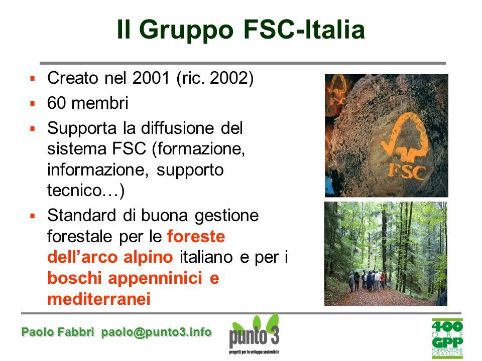 Paolo Fabbri paolo@punto3.info Il Gruppo FSC-Italia  Creato nel 2001 (ric. 2002)  60 membri  Supporta la diffusione del sistema FSC (formazione, in