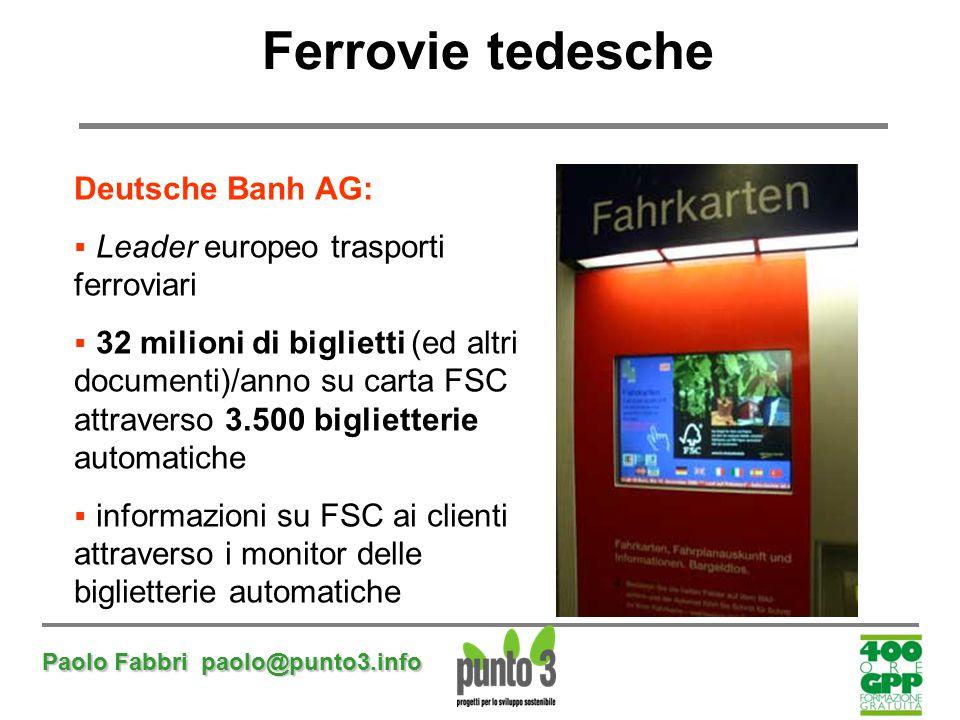 Paolo Fabbri paolo@punto3.info Ferrovie tedesche Deutsche Banh AG:  Leader europeo trasporti ferroviari  32 milioni di biglietti (ed altri documenti