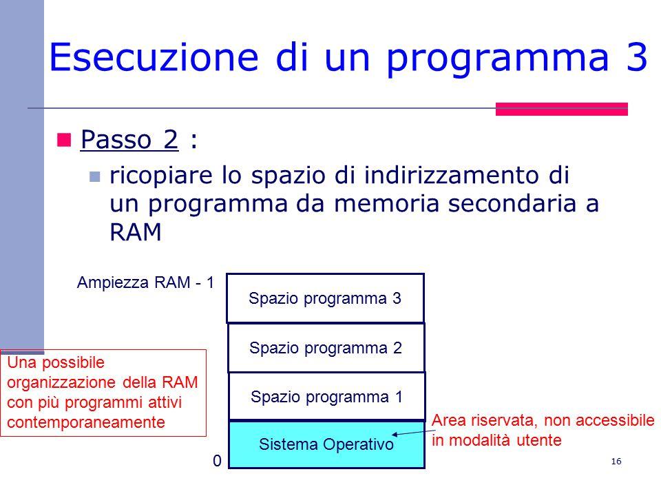 16 Esecuzione di un programma 3 Passo 2 : ricopiare lo spazio di indirizzamento di un programma da memoria secondaria a RAM Sistema Operativo Spazio programma 1 Area riservata, non accessibile in modalità utente Una possibile organizzazione della RAM con più programmi attivi contemporaneamente 0 Ampiezza RAM - 1 Spazio programma 2 Spazio programma 3
