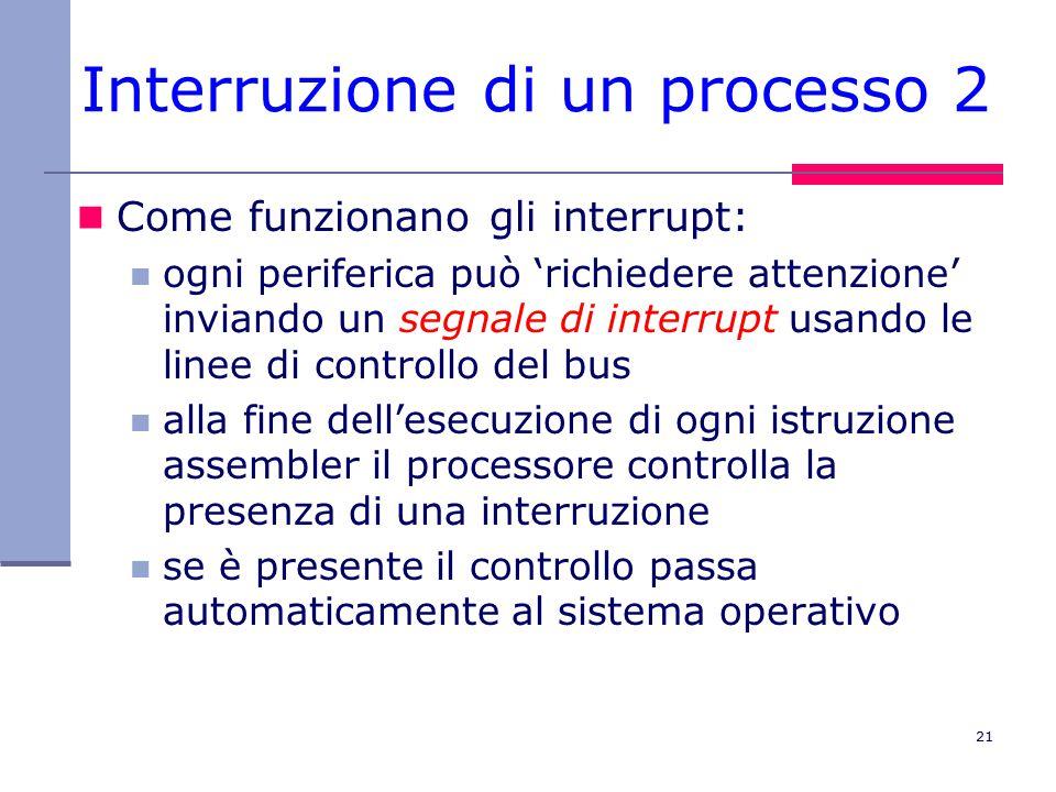 21 Interruzione di un processo 2 Come funzionano gli interrupt: ogni periferica può 'richiedere attenzione' inviando un segnale di interrupt usando le linee di controllo del bus alla fine dell'esecuzione di ogni istruzione assembler il processore controlla la presenza di una interruzione se è presente il controllo passa automaticamente al sistema operativo