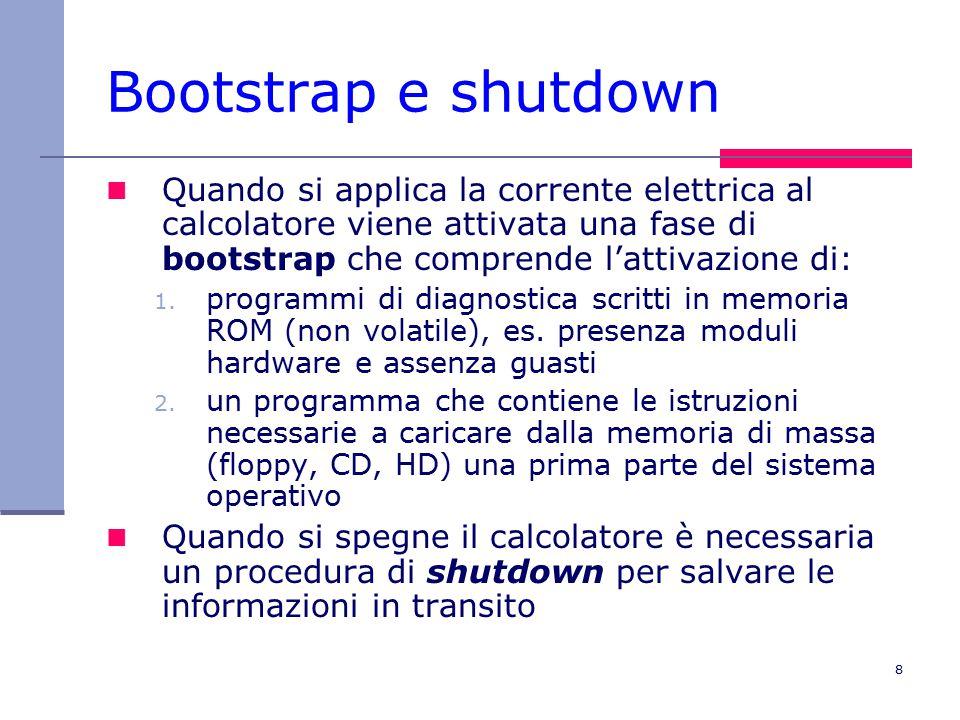 8 Bootstrap e shutdown Quando si applica la corrente elettrica al calcolatore viene attivata una fase di bootstrap che comprende l'attivazione di: 1.