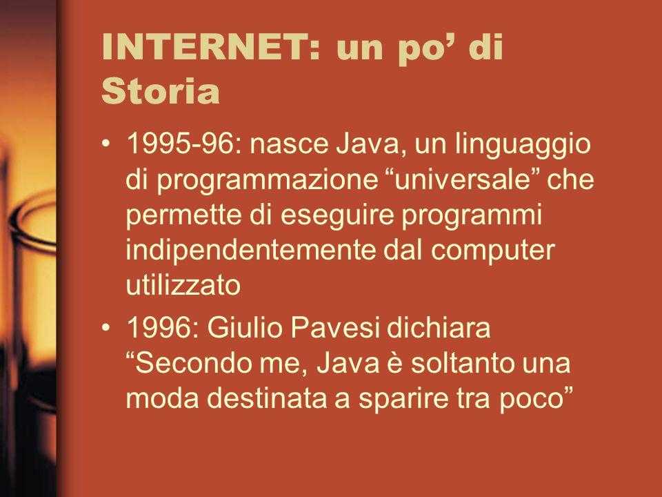 INTERNET: un po' di Storia 1995-96: nasce Java, un linguaggio di programmazione universale che permette di eseguire programmi indipendentemente dal computer utilizzato 1996: Giulio Pavesi dichiara Secondo me, Java è soltanto una moda destinata a sparire tra poco