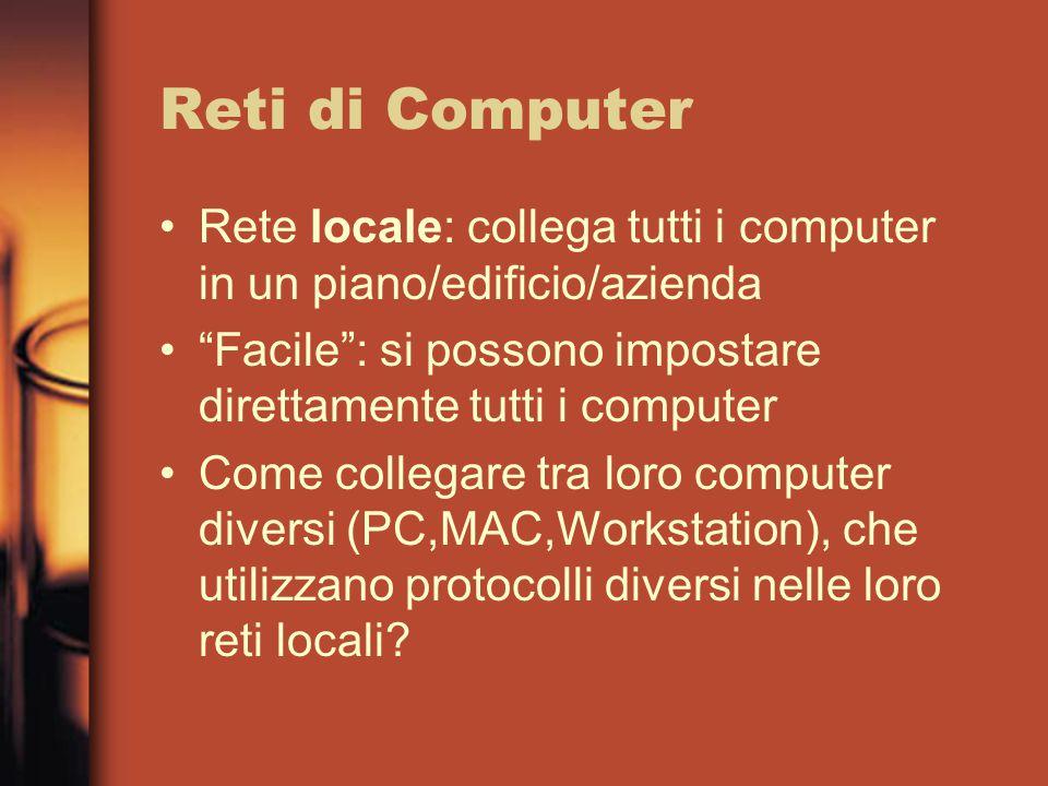 Reti di Computer Rete locale: collega tutti i computer in un piano/edificio/azienda Facile : si possono impostare direttamente tutti i computer Come collegare tra loro computer diversi (PC,MAC,Workstation), che utilizzano protocolli diversi nelle loro reti locali