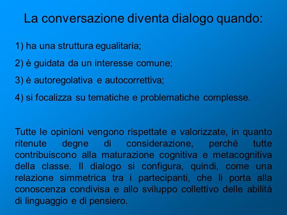 La conversazione diventa dialogo quando: 1) ha una struttura egualitaria; 2) è guidata da un interesse comune; 3) è autoregolativa e autocorrettiva; 4) si focalizza su tematiche e problematiche complesse.