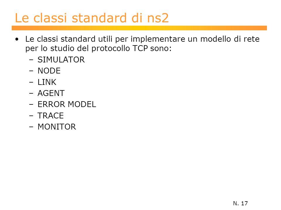 N. 17 Le classi standard di ns2 Le classi standard utili per implementare un modello di rete per lo studio del protocollo TCP sono: –SIMULATOR –NODE –