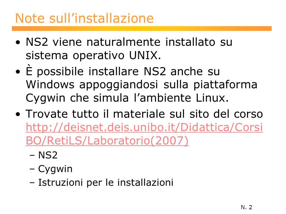 N. 2 Note sull'installazione NS2 viene naturalmente installato su sistema operativo UNIX.