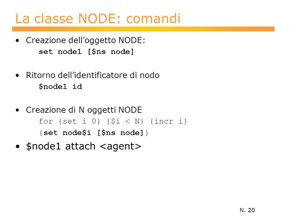 N. 20 La classe NODE: comandi Creazione dell'oggetto NODE: set node1 [$ns node] Ritorno dell'identificatore di nodo $node1 id Creazione di N oggetti N