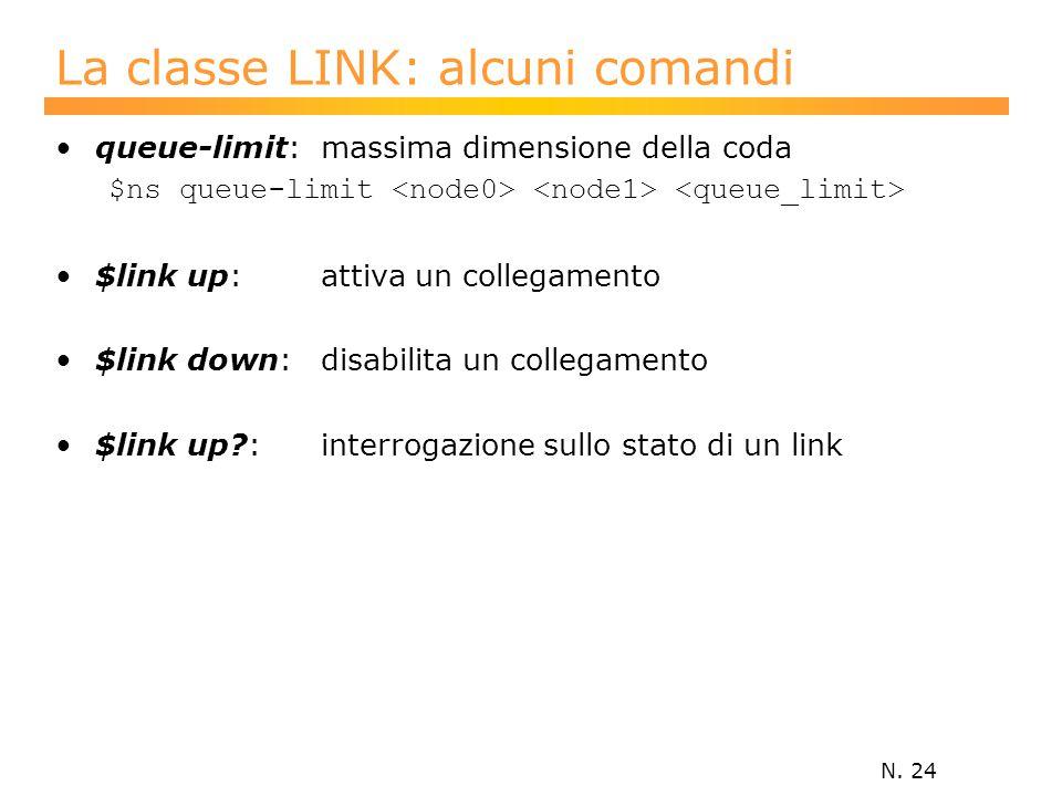 N. 24 La classe LINK: alcuni comandi queue-limit: massima dimensione della coda $ns queue-limit $link up: attiva un collegamento $link down: disabilit