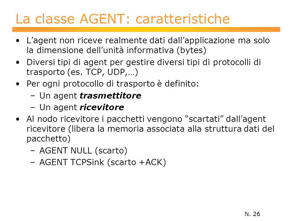 N. 26 L'agent non riceve realmente dati dall'applicazione ma solo la dimensione dell'unità informativa (bytes) Diversi tipi di agent per gestire diver