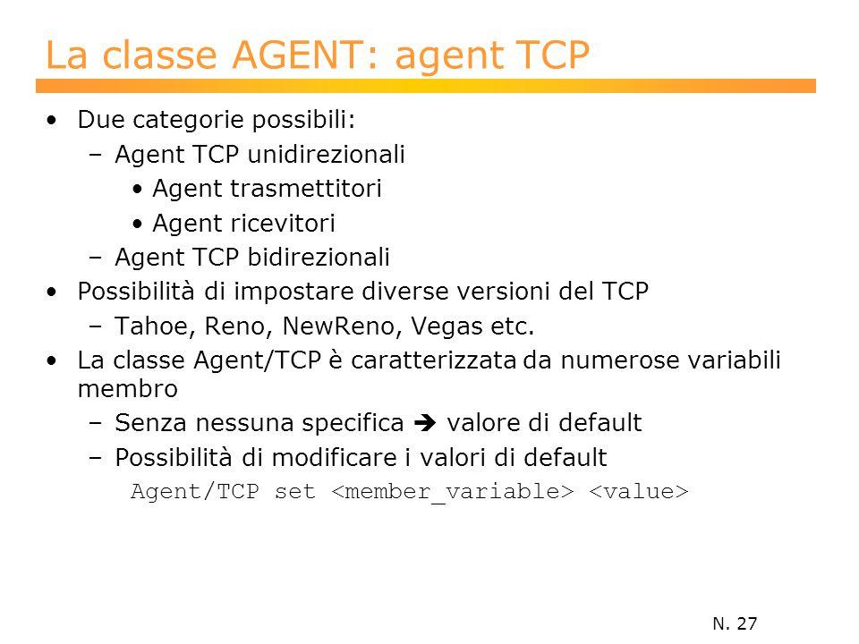 N. 27 La classe AGENT: agent TCP Due categorie possibili: –Agent TCP unidirezionali Agent trasmettitori Agent ricevitori –Agent TCP bidirezionali Poss