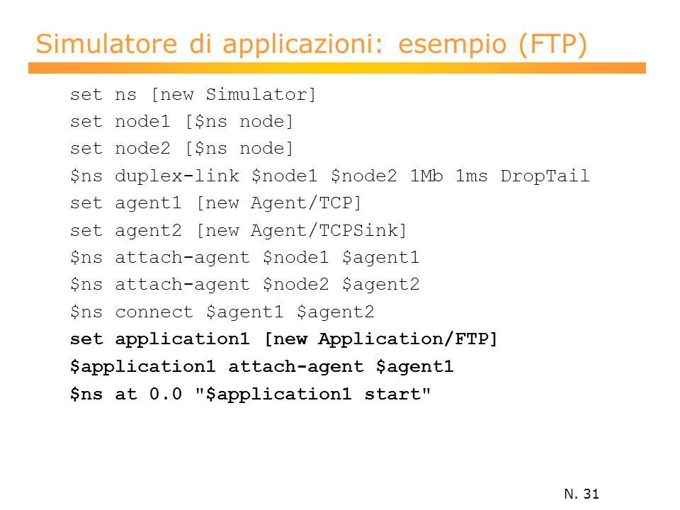 N. 31 Simulatore di applicazioni: esempio (FTP) set ns [new Simulator] set node1 [$ns node] set node2 [$ns node] $ns duplex-link $node1 $node2 1Mb 1ms