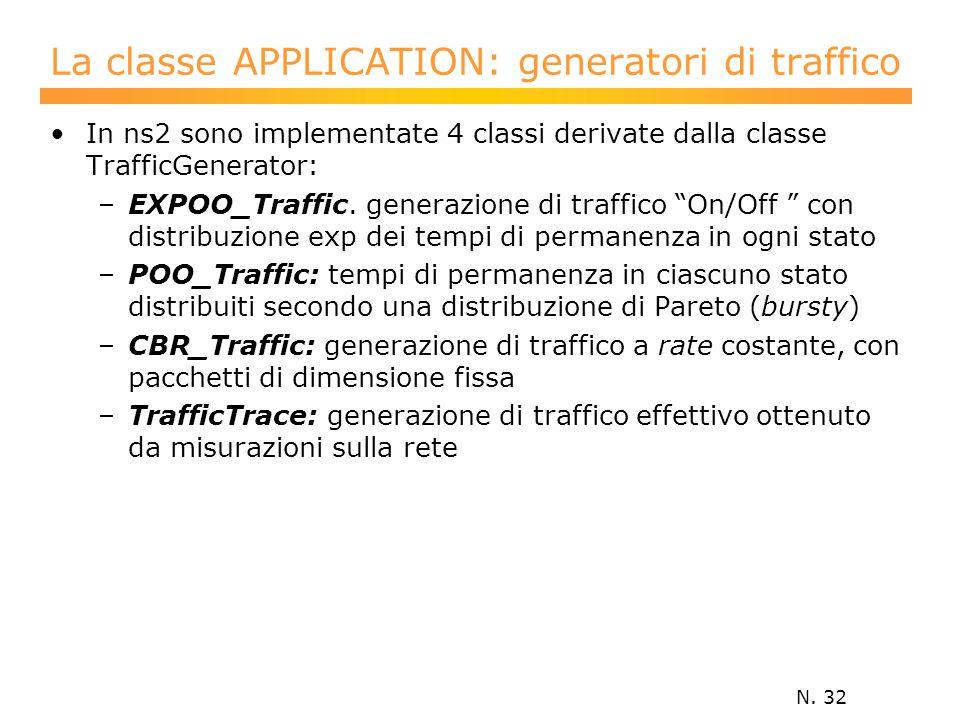 N. 32 La classe APPLICATION: generatori di traffico In ns2 sono implementate 4 classi derivate dalla classe TrafficGenerator: –EXPOO_Traffic. generazi