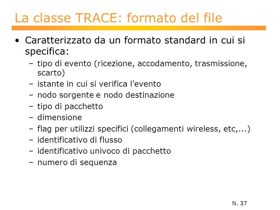 N. 37 La classe TRACE: formato del file Caratterizzato da un formato standard in cui si specifica: –tipo di evento (ricezione, accodamento, trasmissio