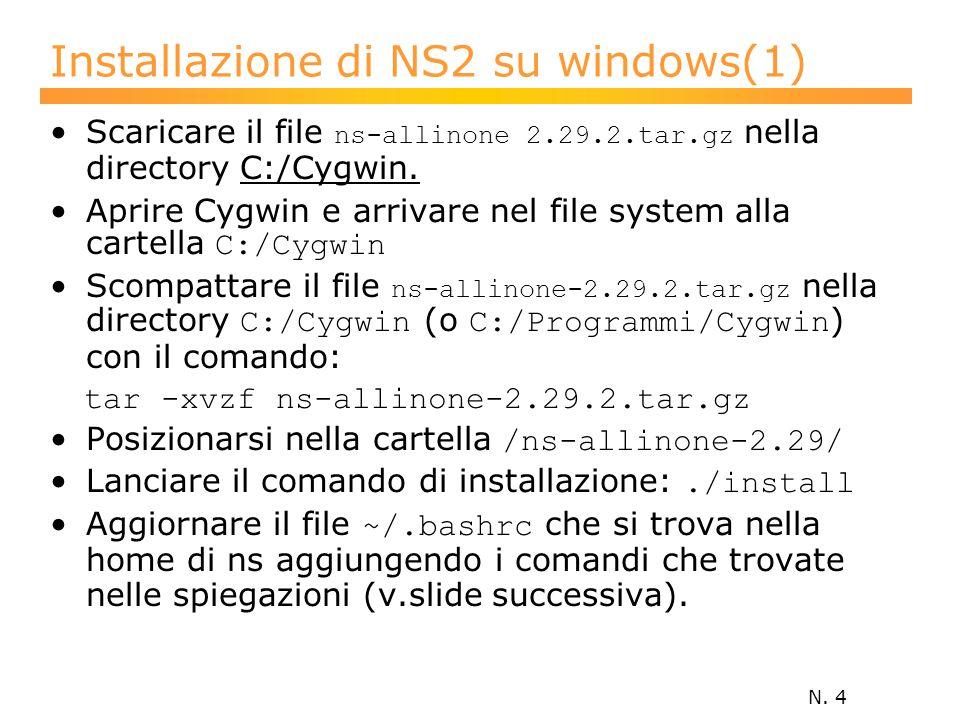 N. 4 Installazione di NS2 su windows(1) Scaricare il file ns-allinone 2.29.2.tar.gz nella directory C:/Cygwin. Aprire Cygwin e arrivare nel file syste