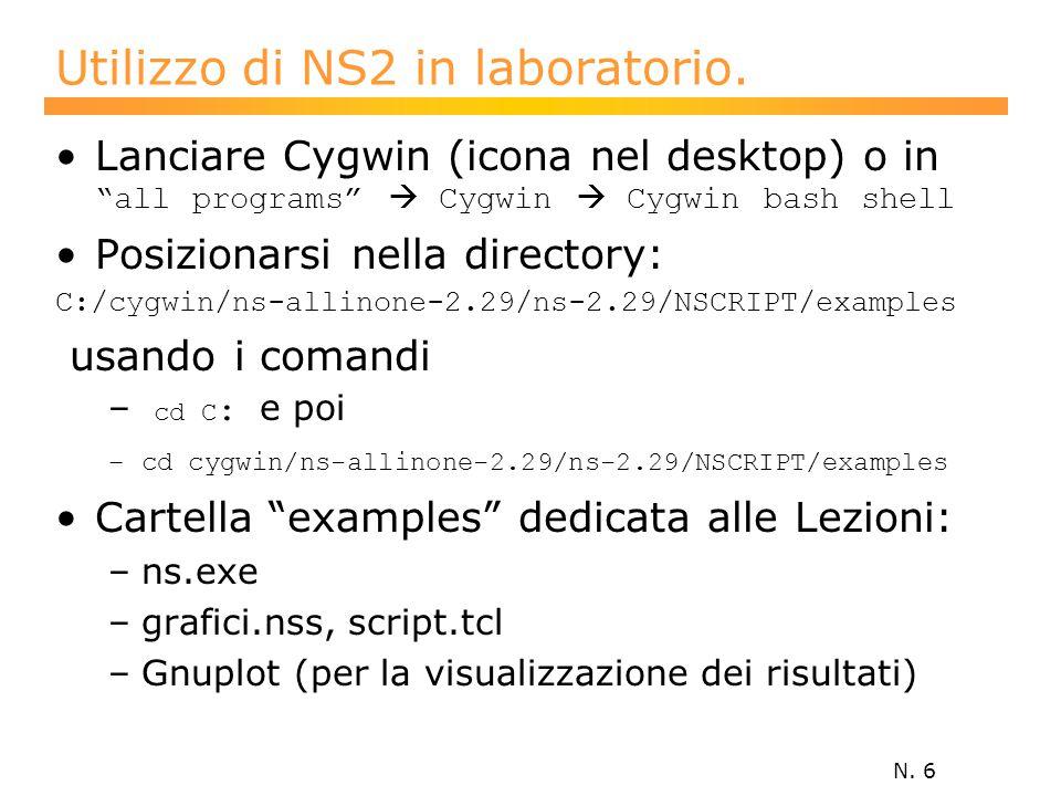 N. 6 Utilizzo di NS2 in laboratorio.