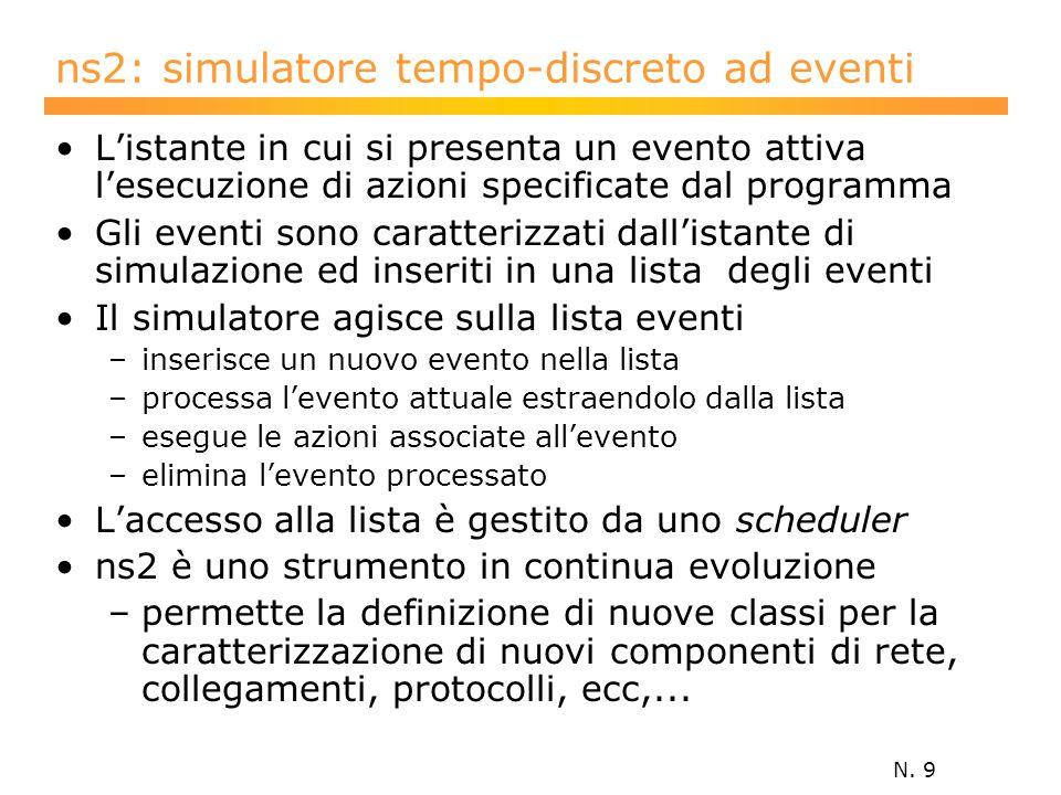 N. 9 ns2: simulatore tempo-discreto ad eventi L'istante in cui si presenta un evento attiva l'esecuzione di azioni specificate dal programma Gli event