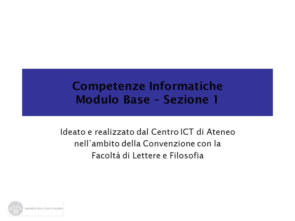 Competenze Informatiche Modulo Base – Sezione 1 Ideato e realizzato dal Centro ICT di Ateneo nell'ambito della Convenzione con la Facoltà di Lettere e
