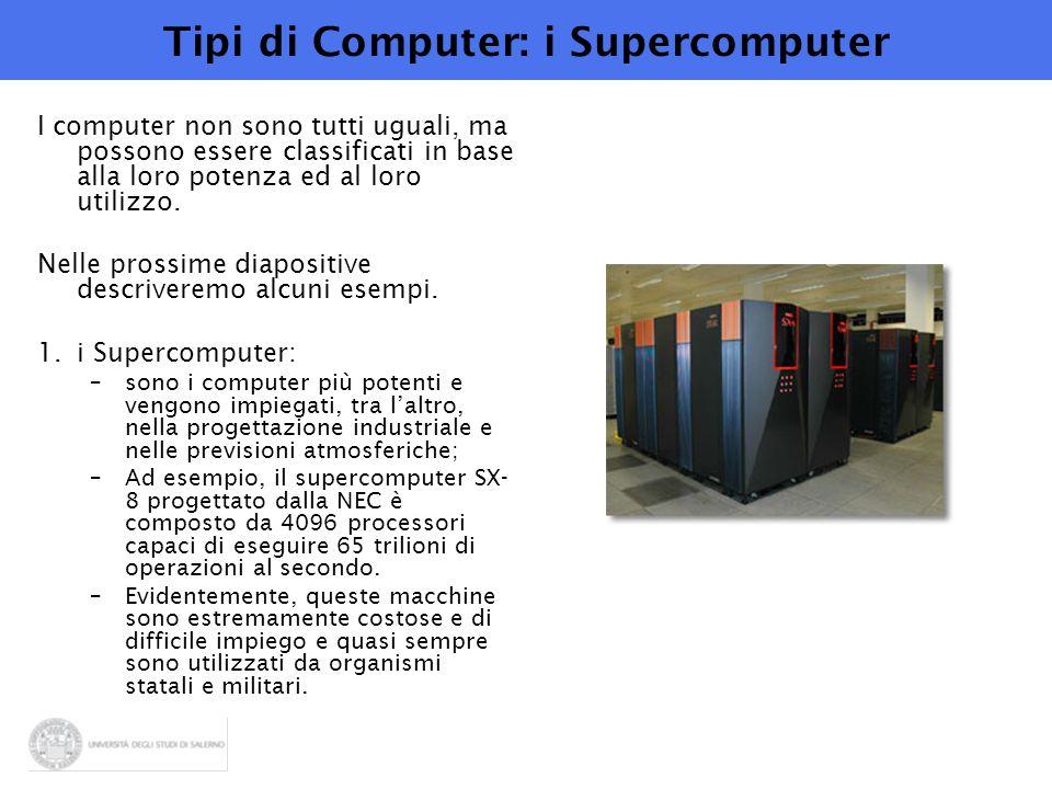 Tipi di Computer: i Supercomputer I computer non sono tutti uguali, ma possono essere classificati in base alla loro potenza ed al loro utilizzo. Nell