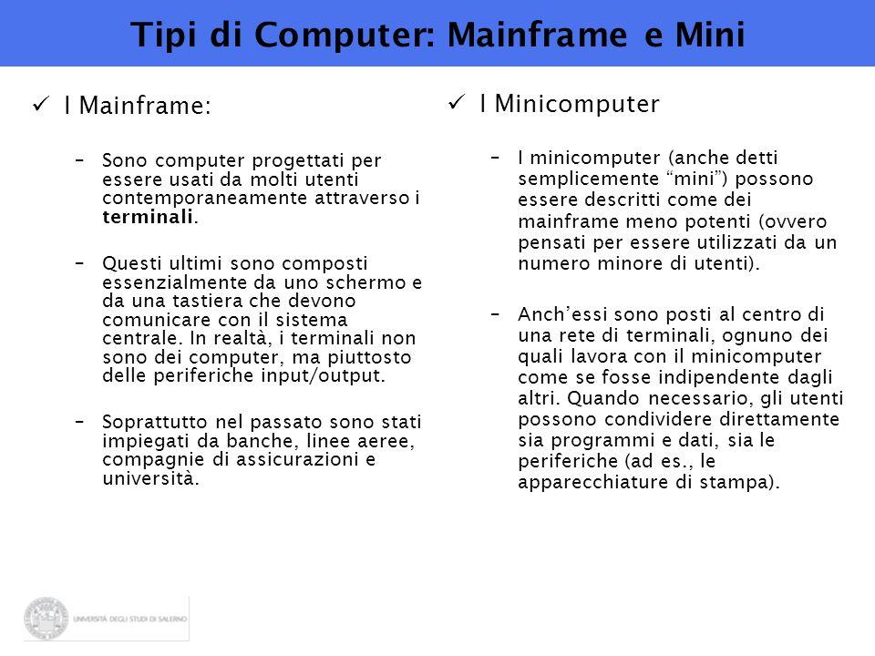Tipi di Computer: Mainframe e Mini I Mainframe: –Sono computer progettati per essere usati da molti utenti contemporaneamente attraverso i terminali.