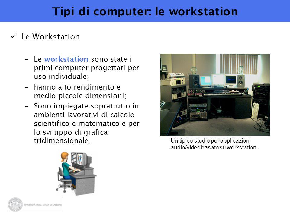 Tipi di computer: le workstation Le Workstation –Le workstation sono state i primi computer progettati per uso individuale; –hanno alto rendimento e m