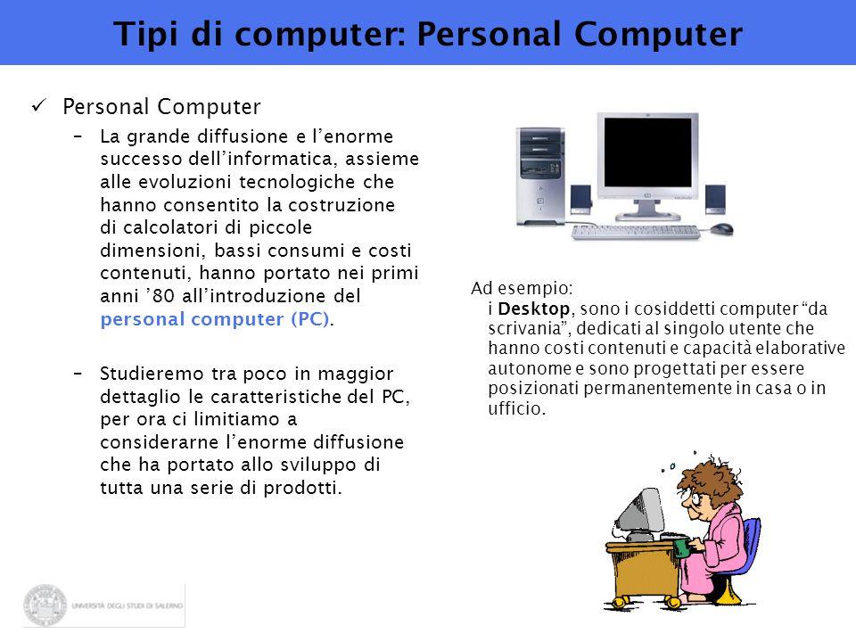 Tipi di computer: Personal Computer Personal Computer –La grande diffusione e l'enorme successo dell'informatica, assieme alle evoluzioni tecnologiche